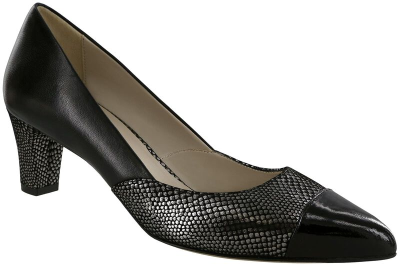 Reina Black-Silver-Patent-Tip Right .75 View