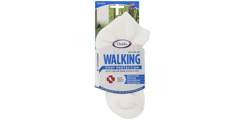 Thorlo Walking Micro Mini Medium White Socks Front View