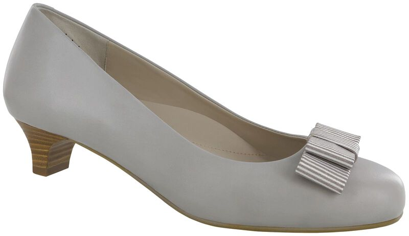 Eleanor Taupe Stripe Bow Right .75 View
