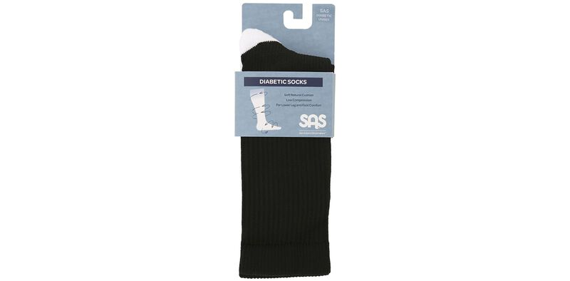 Diabetic Crew Medium Black Socks Front View