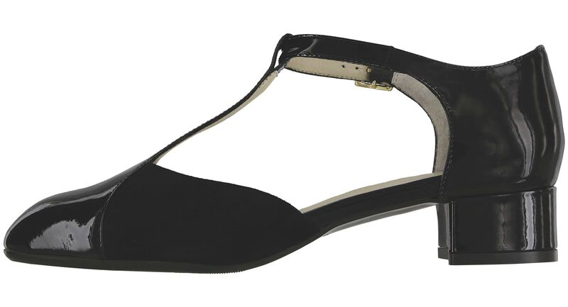 Sybil Black Suede Black Patent Left Side View