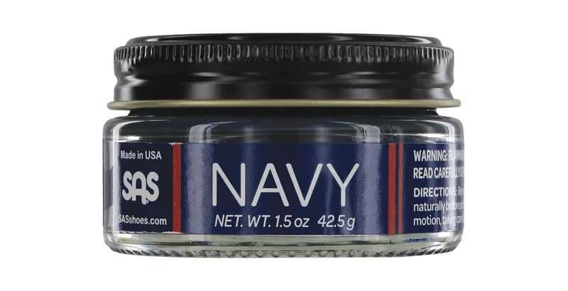 Soft Leather Cream Jar Navy Front View