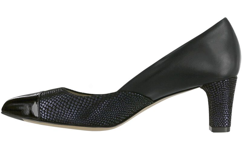 Reina Black-Navy-Patent-Tip Right Side View