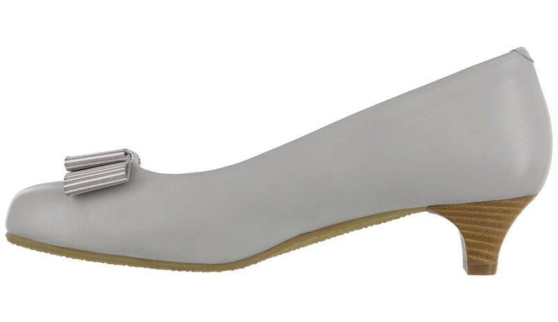 Eleanor Taupe Stripe Bow Right Side View