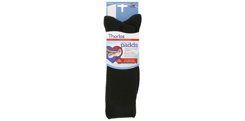 Thorlo Health Padds Large Black Socks Front View