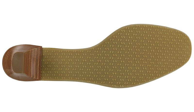 Eleanor Taupe Stripe Bow Left Sole View