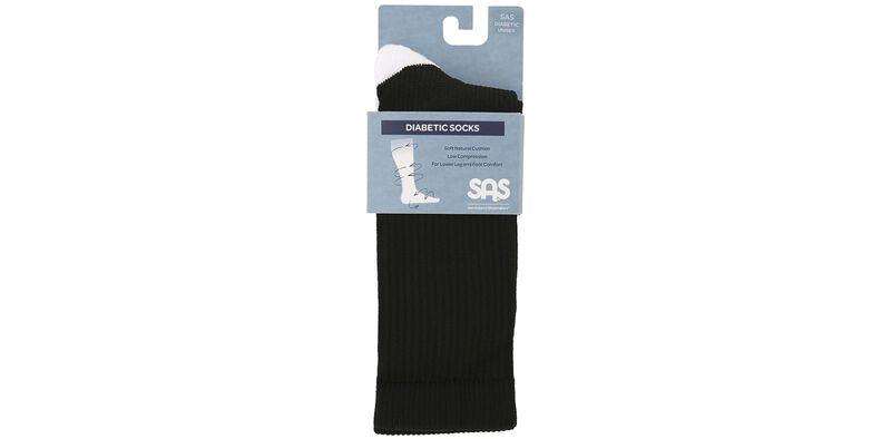 Diabetic Crew Medium Black Socks Front View