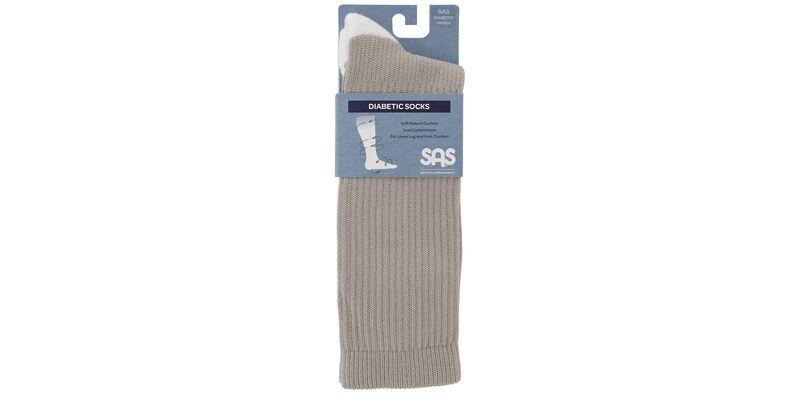 Diabetic Crew Medium Khaki Socks Front View