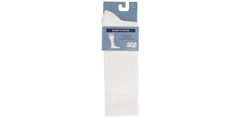 Diabetic Crew Medium White Socks Front View