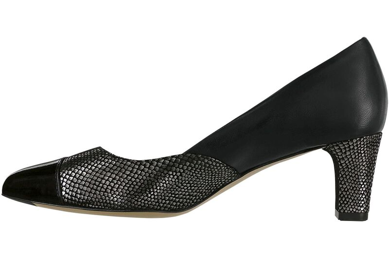 Reina Black-Silver-Patent-Tip Right Side View