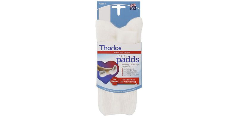 Thorlo Health Padds Large White Socks Front View